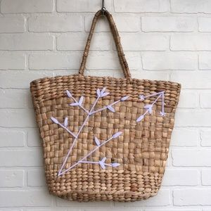 Target Wicker Basket Purse Bag with Embroidery